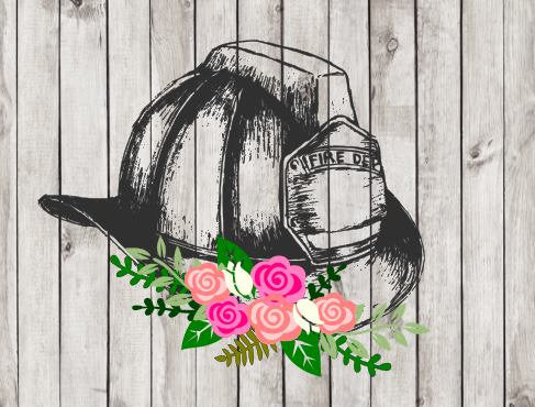 Firefighter Fire Department Helmet with Flowers