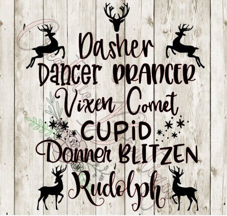 Reinder all names Christmas winter holiday SVG Cutting File Cricut Silhouette vector image
