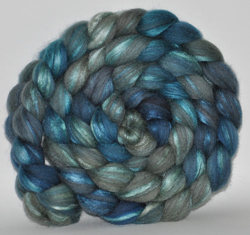 70/30 Grey Merino/Tussah Silk Hand Dyed Roving 5.29 oz. Island of Love  Combed Top