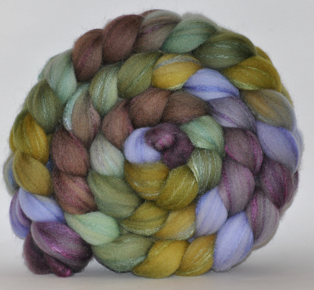 Merino/Tussah Silk 70/30  Hand Painted Roving 5.11 oz. Hey Jude Combed Top