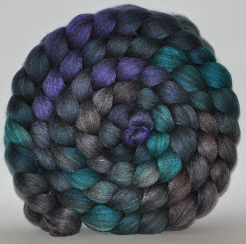23.7 Micron Charcoal Haunui  / A1+ Mulberry Silk  Roving Hand Dyed  5.32 ounces - West Wind Combed Top