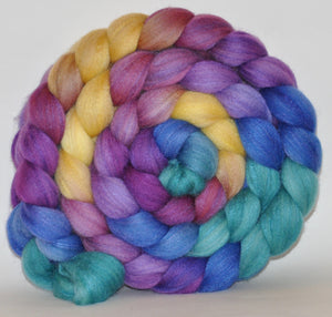 Merino & Tussah silk (50/50) Roving Hand Dyed  5.24 ounces - Crown Jewels Combed Top