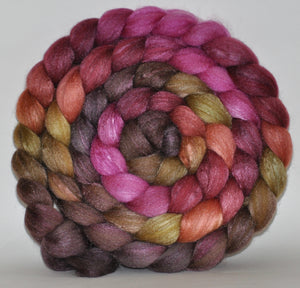 Polwarth/Tussah Silk 60/40 Hand Dyed Roving - 5.31 ounce - Team Work Combed Top