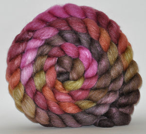 Polwarth/Tussah Silk 60/40 Hand Dyed Roving - 5.23 ounce - Team Work Combed Top