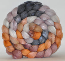 Merino/Tussah Silk 70/30  Hand Painted Roving 5.24 oz. Of Wood and Rust Combed Top