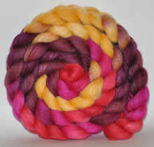 85/15 Polwarth/Tussah Silk  Hand Dyed Roving - 4.88 ounce - Judi Dench  Combed Top