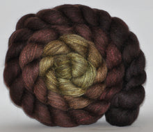 Charcoal Haunui New Zealand Halfbred / Mulberry Silk  Roving Hand Dyed  5.11 ounces - Secret Cave Combed Top