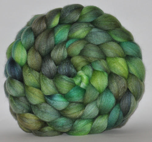 Polwarth/Mulberry Silk  60/40 Hand Dyed Roving - 5.29 ounce -  Greener Pastures Combed Top
