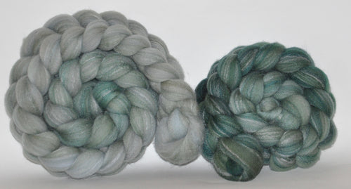 Targhee Bamboo Tussah  Hand Dyed Roving - 5.2 ounce - Everwood Combed Top