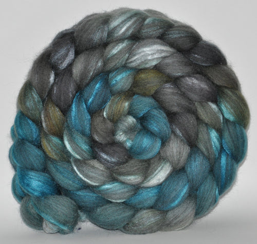 70/30 Grey Merino/Tussah Silk Hand Dyed Roving 5.24 oz. Hound Dog  Combed Top