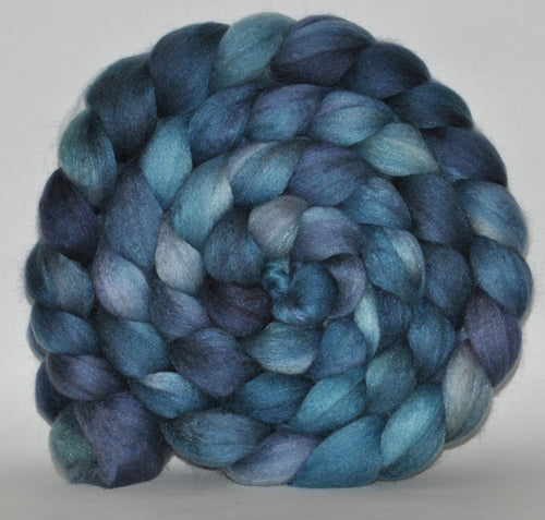 Polwarth/Mulberry Silk  60/40 Hand Dyed Roving - 5.27 ounce -  Reflection Combed Top