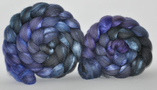 70/30 Grey Merino/Tussah Silk Hand Dyed Roving 5.33 oz.  Good Luck Charm  Combed Top