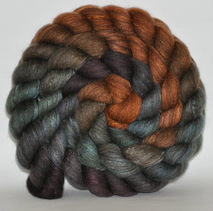 Charcoal Haunui New Zealand Halfbred / Mulberry Silk  Roving Hand Dyed  5.31 ounces - Seeking Refuge Combed Top