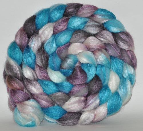 Polwarth/Tussah Silk 60/40 Hand Dyed Roving - 5.08 ounce - Something New  Combed Top
