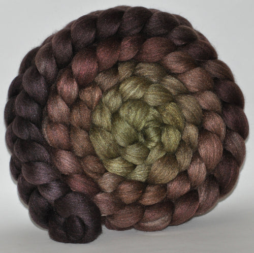 23.7 Micron Charcoal Haunui  / A1+ Mulberry Silk  Roving Hand Dyed  5.1 ounces - Secret Cave  Combed Top