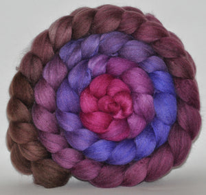 Polwarth/Mulberry Silk  60/40 Hand Dyed Roving - 5.27 ounce -  Waiting for Winter Combed Top