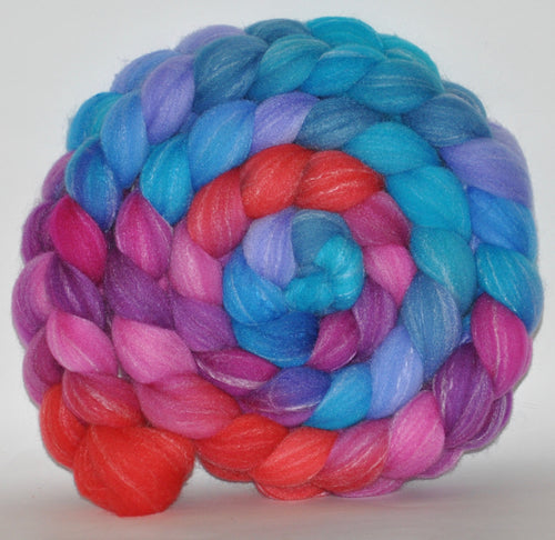 Targhee Bamboo Tussah  Hand Dyed Roving - 5.23 ounces - Surprise Party Combed Top
