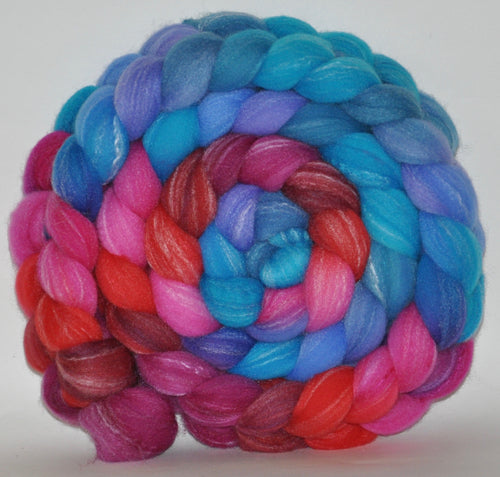 Targhee Bamboo Tussah  Hand Dyed Roving - 5.22 ounces - Wishes Come True Combed Top