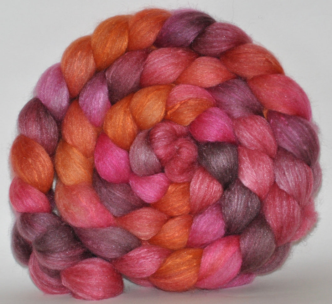 Haunui New Zealand Halfbred / Mulberry Silk  Roving Hand Dyed  5.21 ounces - Fascination  Combed Top