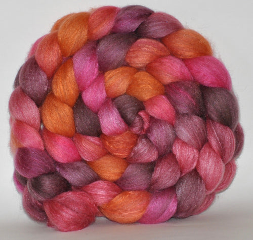 Haunui New Zealand Halfbred / Mulberry Silk  Roving Hand Dyed  5.31 ounces - Fascination  Combed Top
