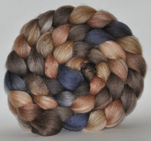 Haunui New Zealand Halfbred / Mulberry Silk  Roving Hand Dyed  5.25 ounces - Snowless Winter Combed Top