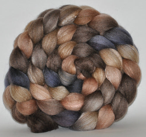 Haunui New Zealand Halfbred / Mulberry Silk  Roving Hand Dyed  5.24 ounces - Snowless Winter Combed Top