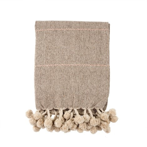 Metallic Rose Gold & Taupe Throw