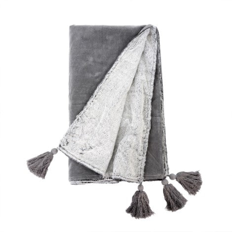 Decor by Christine online shop Velvet Tassel Throw Grey