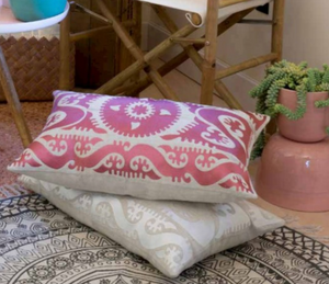 Suzani Pink Cushion Styled 1