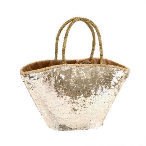 Sequin Shopper Basket - Gold