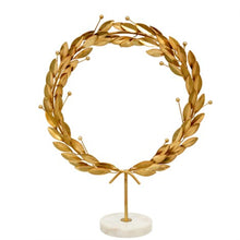 Load image into Gallery viewer, Grecian Gold Wreath on Marble Stand