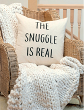 Load image into Gallery viewer, Chunky cream knit throw styled on wicker chair