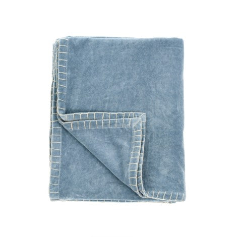 Velvet Blanket Stitch Throw Denim - Decor by Christine