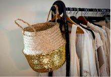 Load image into Gallery viewer, Gold sequin belly basket styled