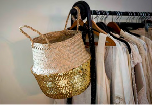 Gold sequin belly basket styled