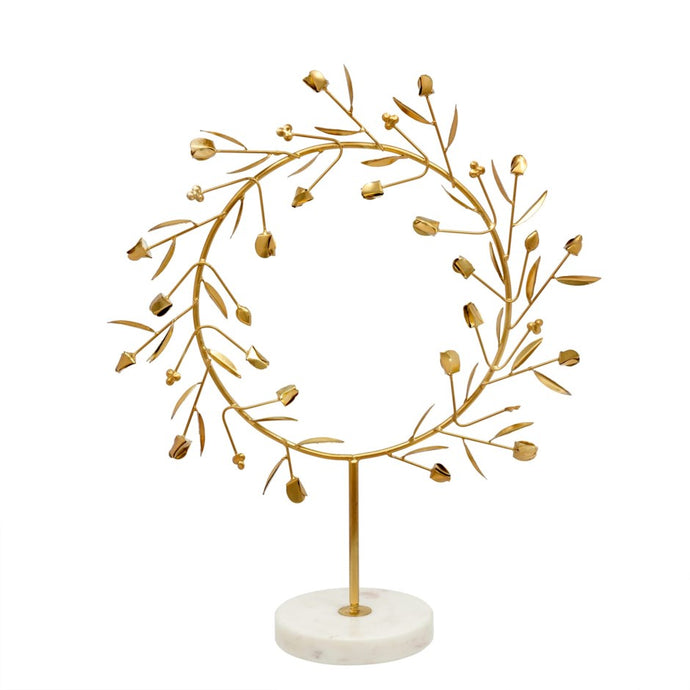Athenos Gold Wreath On Marble Stand