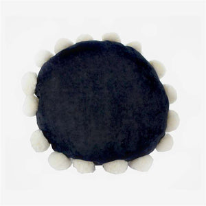 Black Toss Cushion wit Pom Poms