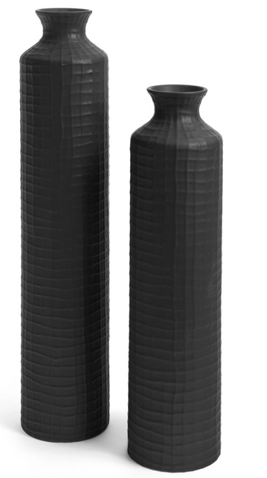 Boane Textured Ceramic Vase - Black