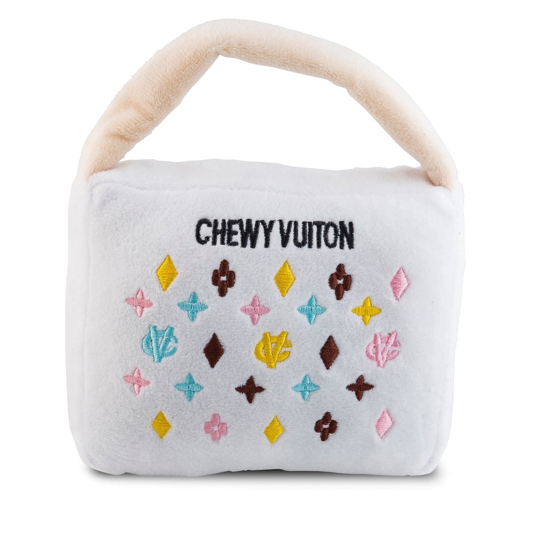 NEW White Chewy Vuiton Purse Plush Dog Toy
