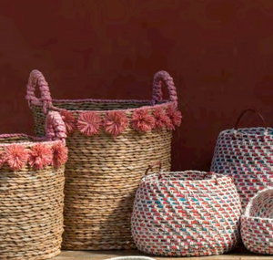 Coral Pom Pom Seagrass Baskets - Set of 2