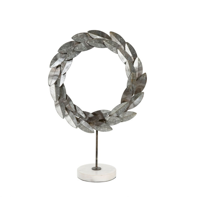 Helena Pewter Wreath On Marble Stand