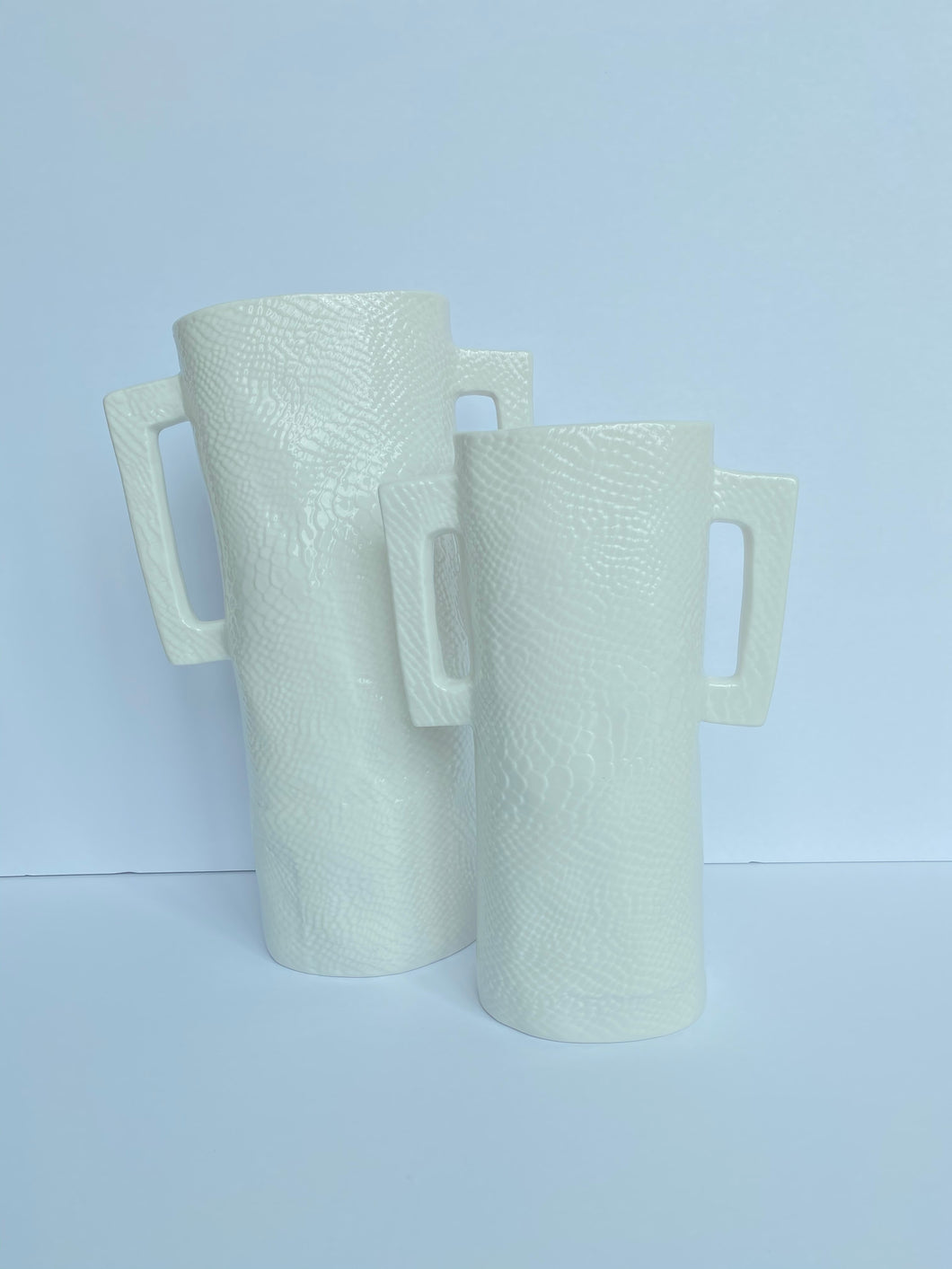 Snake Skin Textured Ceramic Vases - White