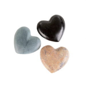 NEW Mini Heart Soapstones In A Velvet Pouch