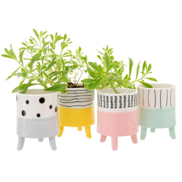 Painterly Footed Planter Pots