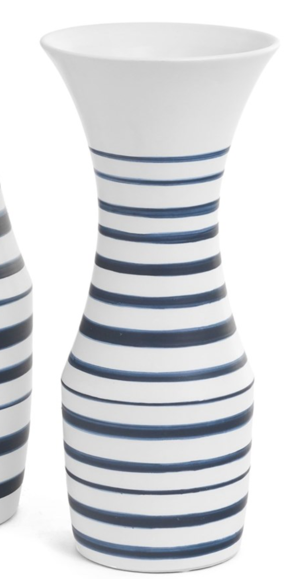 Positano Navy & White Striped Vase