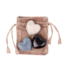 Load image into Gallery viewer, NEW Mini Heart Soapstones In A Velvet Pouch