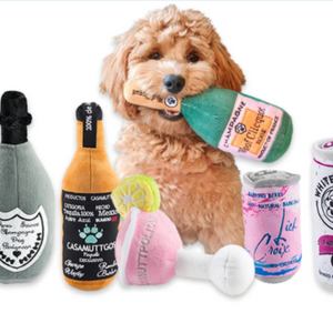 NEW Woof Clicquot Rose Champagne Bottle Plush Dog Toy