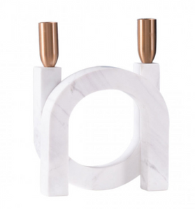 Circular White Marble Candle Holder