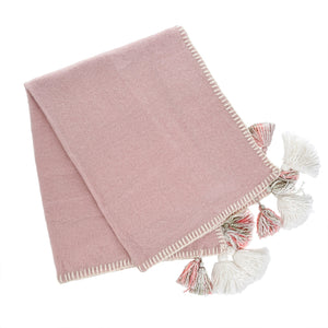 Pale Pink Tassel & Trim Throw