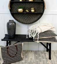 Load image into Gallery viewer, Chunky knit throw styled on bamboo bench
